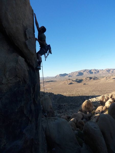 Just past 3rd bolt, this is a good rest before top crux.