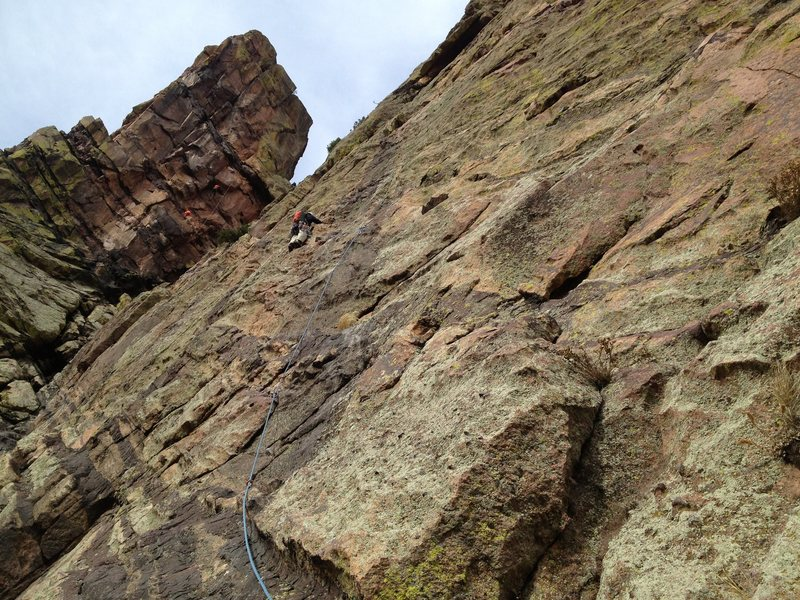 Rock Climbing Photo: John leading pitch three (5.6 R) of Anthill Direct...