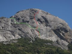 Rock Climbing Photo: Green=approximate approach Red=approximate climb