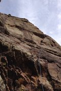 Rock Climbing Photo: Me leading towards the second roof on pitch two of...