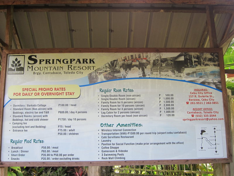 Rock Climbing Photo: Price list for Springpark