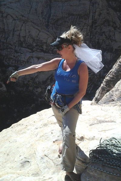 Rock Climbing Photo: 1st to the ledge on our wedding day!