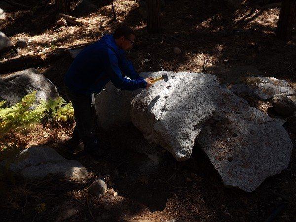 Justin cuttin stone