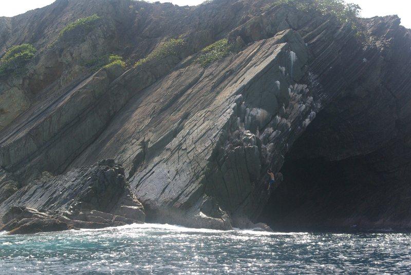 Rock Climbing Photo: David Enloe climbing outside the cave