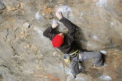 Rock Climbing Photo: Joseph down low starting the first crux with a ver...
