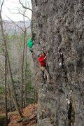 Rock Climbing Photo: Sam making the reach to an OK crimp that starts th...