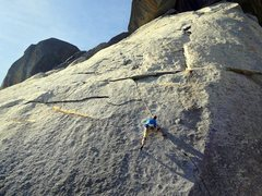 Rock Climbing Photo: Karsten at the crux of The Fracture on a beautiful...