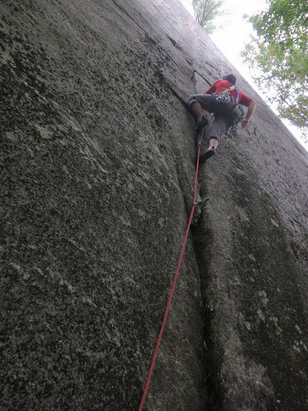Rock Climbing Photo: The lower part of the crack on Gold, Bear Den.