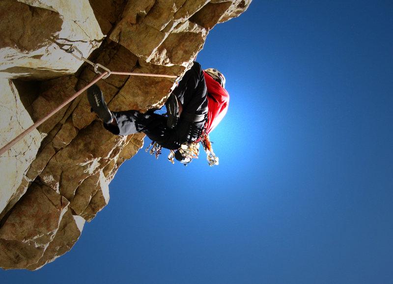 Rock Climbing Photo: Bill pulling the crux on Gertrude McFuzz. Tough ro...