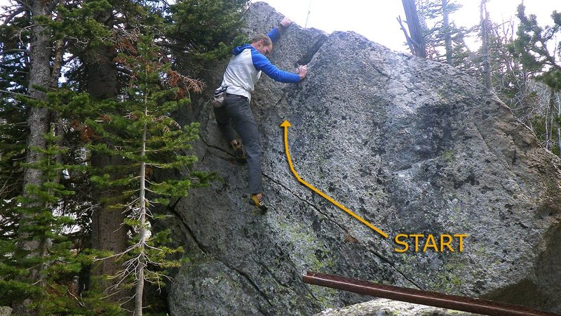 """One Life at a Time, Please"", V1 at Mason Lake in the Tobacco Root Mountains, MT."
