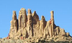 Rock Climbing Photo: A)South Tower unknown route many bolts seen near s...