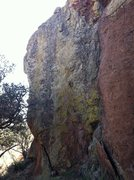 Rock Climbing Photo: Bolted Arete on north side of boulder.