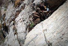 Rock Climbing Photo: Matt inspecting the Renaissance Ledge