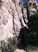 Rock Climbing Photo: Crack start of Love Lizards in the center of photo...