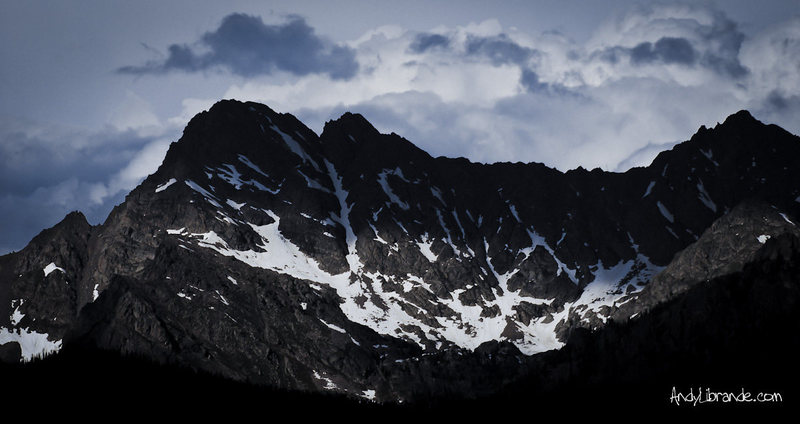 Rock Climbing Photo: Peak C from the road on the way in. The prominent ...