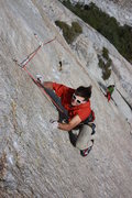 "Rock Climbing Photo: Brad Wilson on pitch 7, ""Honey Badger Travers..."