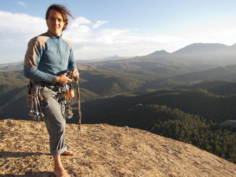 David on the summit of Ellingwood Chimney—amazing view of the Splatte!