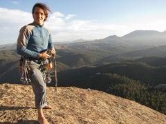 Rock Climbing Photo: David on the summit of Ellingwood Chimney—amazing...
