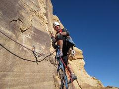 Rock Climbing Photo: Paul starting the P3 headwall.