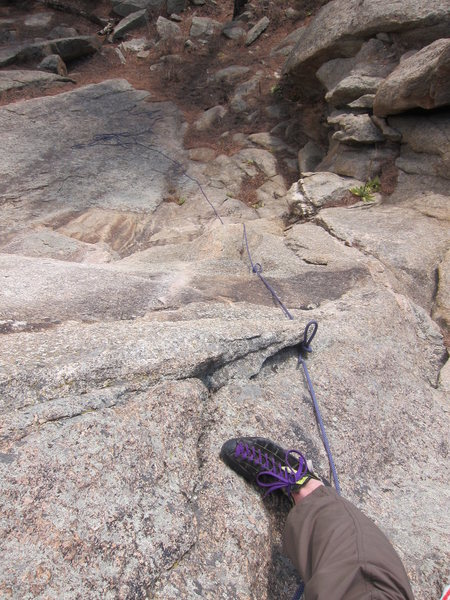 Looking down from below the dihedral (while rope-soloing).