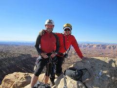 Rock Climbing Photo: Paul and Andy on summit.Beautiful November day