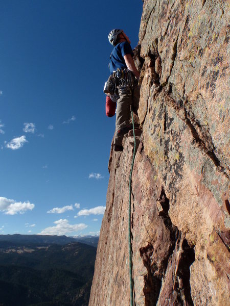 Rock Climbing Photo: Moving out to the Arete for the last pitch. A much...