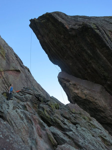 The Gil-o-tine, on the west face of Queen Anne's Head. South Face of the Third Flatiron in the background.