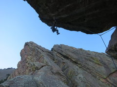 Rock Climbing Photo: Joe working the route, before the send.