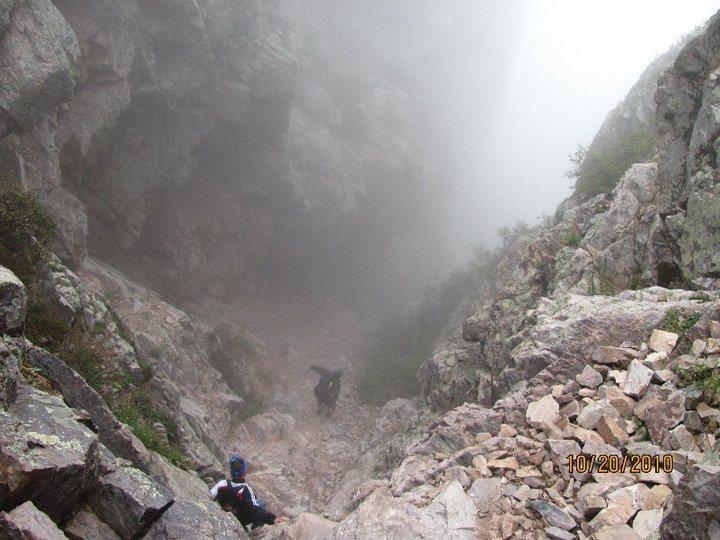 Rock Climbing Photo: Descending back into the storm
