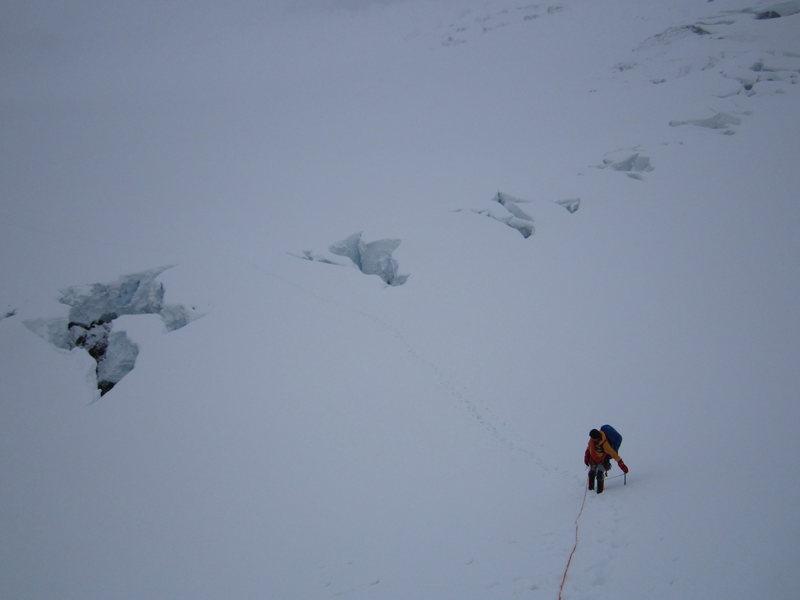 Crossing some crevasses during an attempt on Ptarmigan Ridge, Rainer