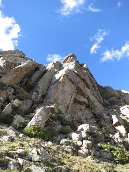 Rock Climbing Photo: Matt approaching the crux of P1.