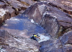 Rock Climbing Photo: Looking up at pitch two, from the top of P1.  It's...