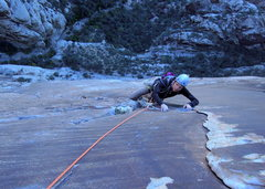 Rock Climbing Photo: Following P6 on Sour Mash.  This pitch is sprayed ...