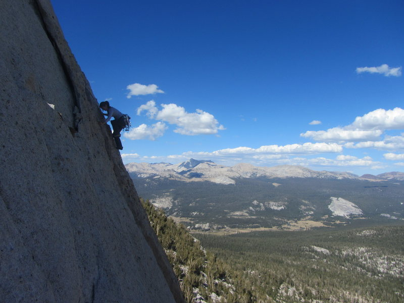 Unknown climber high on the SE Buttress of Cathedral Peak