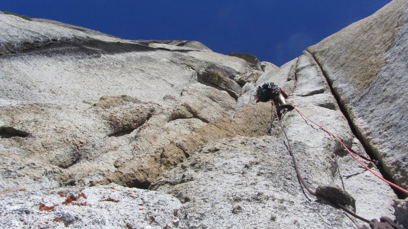 Rock Climbing Photo: Bryan Hall starting up Pitch 2 of Phobos