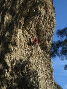 Rock Climbing Photo: Steve B. resting up below the imposing roof of Dad...