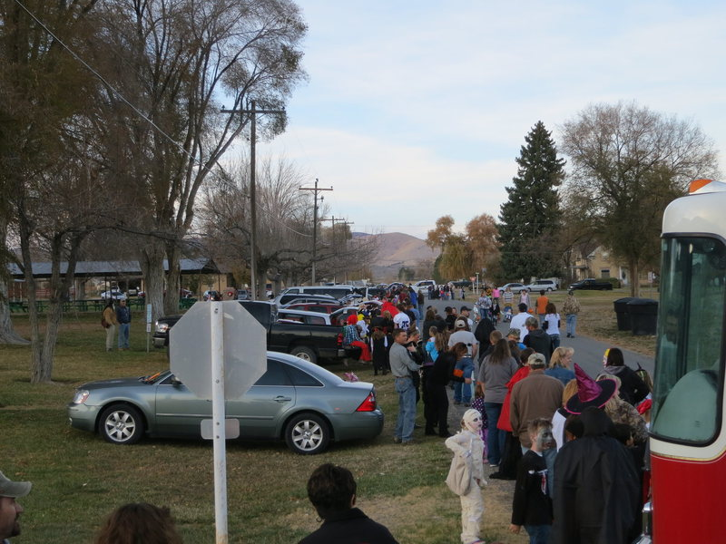 Trick-or-Treating in Fountain Green at the City Park. Everyone drives there and lines up along one street and you just go from car to car in an orderly line, very efficient, and you would not want the kids to over exert themselves to get candy...