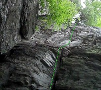 Rock Climbing Photo: from the pod crack follow up to the v crack in the...