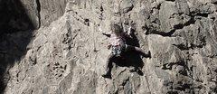 Rock Climbing Photo: Jackie Trejo pulling into the crux.