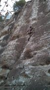 Rock Climbing Photo: Follows the rightward facing crack then heads stra...