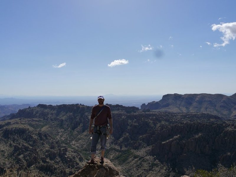 Rock Climbing Photo: Summit of Weavers Needle in the Superstition Mount...