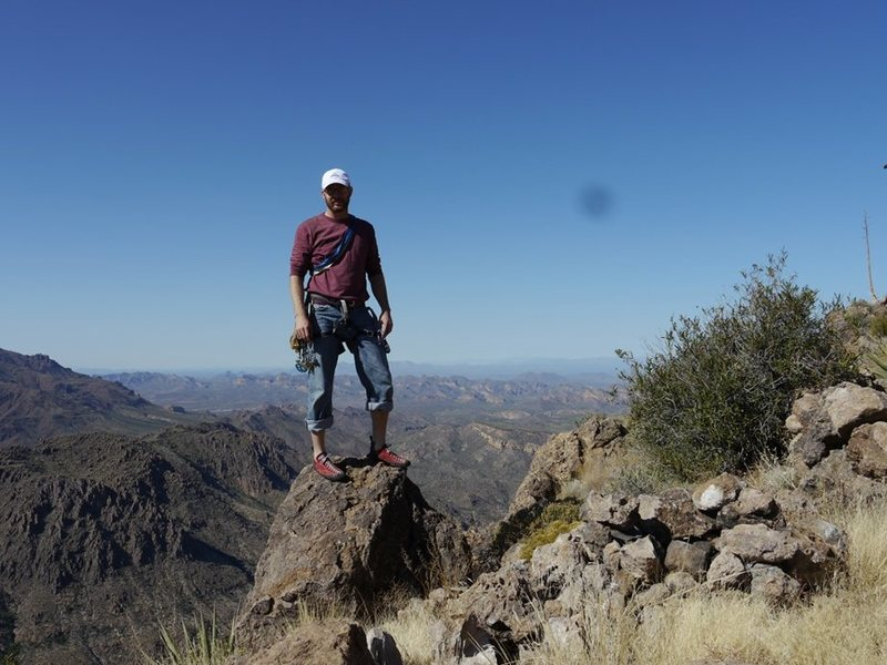 Summit of Weavers Needle in Superstition Mountains, AZ - Looking North West