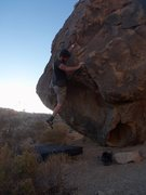 Rock Climbing Photo: Using the crack with the left foot, this is the en...