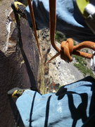 Rock Climbing Photo: Looking down the route from near the crux.