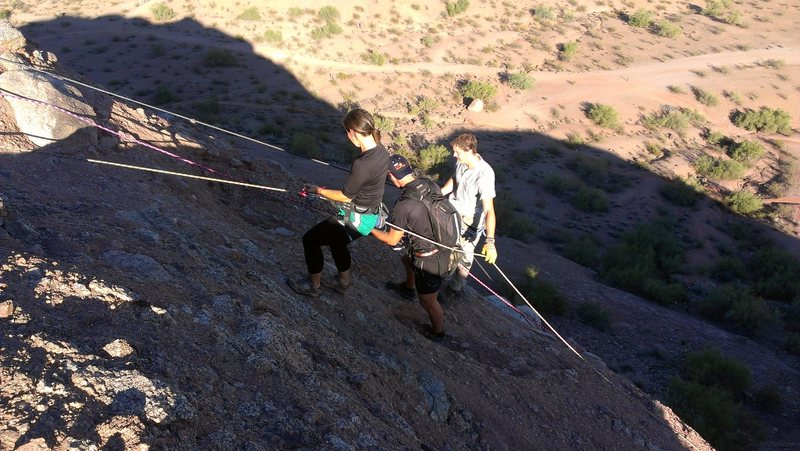 Rock Climbing Photo: Rappelling down the South East side of the mountai...