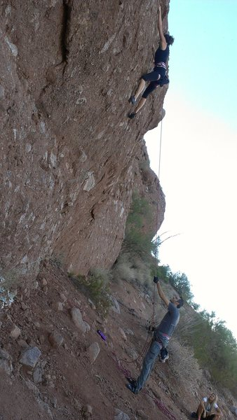 We set up a TR using the rappel bolt at the top of the far east boulder at Papago park. A few fun routes toward the right of the overhang. 5.8ish