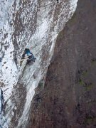 Rock Climbing Photo: Unknown climber above the crux on pitch 2 of Moonl...