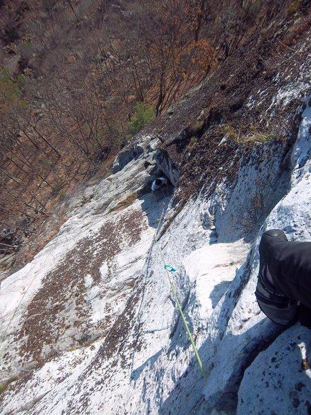 Rock Climbing Photo: Adam starting up the fun stemming corner on pitch ...