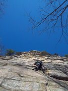 Rock Climbing Photo: Adam leading up the first pitch of Son of Easy O(5...