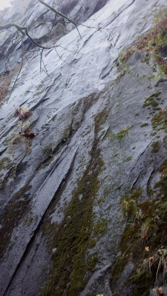 Rock Climbing Photo: Racer-X climbs left from the dirty ledge.  I took ...